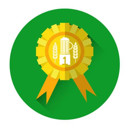 Golden Medal Best Beer Oktoberfest Festival Holiday Decoration Icon Flat Vector Illustration
