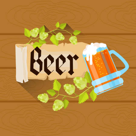 patric banner: Beer Glass Oktoberfest Festival Holiday Decoration Banner Flat Vector Illustration