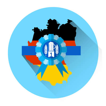patric banner: German Map Beer Oktoberfest Festival Holiday Icon Flat Vector Illustration