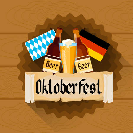 patric: Beer Glass Oktoberfest Festival Holiday Decoration Banner Flat Vector Illustration