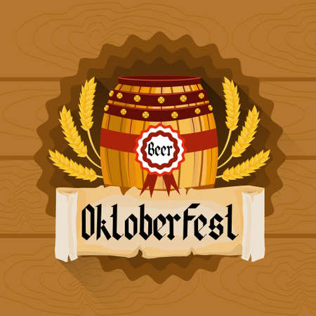 patric banner: Beer Barrel Oktoberfest Festival Holiday Decoration Banner Flat Vector Illustration