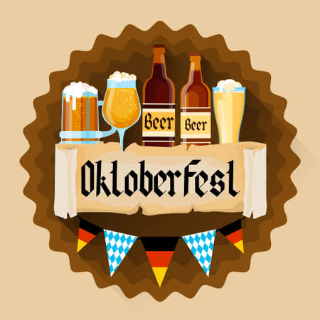 patric: Beer Glass Bottles Oktoberfest Festival Holiday Decoration Banner Flat Vector Illustration
