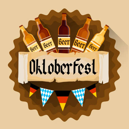 patric banner: Beer Bottles Bottles Oktoberfest Festival Holiday Decoration Banner Flat Vector Illustration