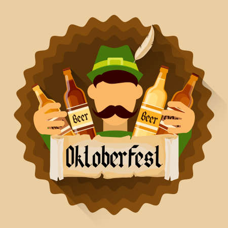 patric banner: Green Patric Hold Beer Bottles Oktoberfest Festival Holiday Decoration Banner Flat Vector Illustration