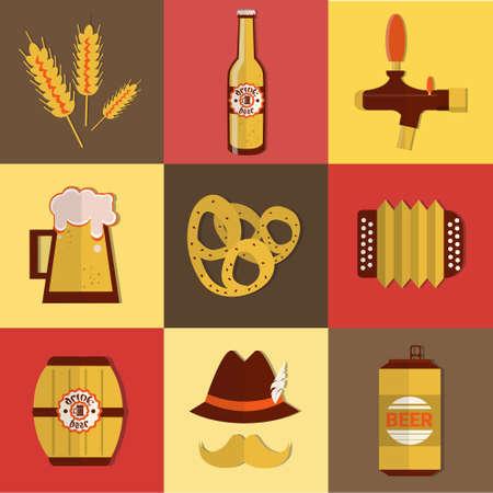 beer fest: Beer Fest Oktoberfest Icon Set Festival Holiday Collection Flat Vector Illustration