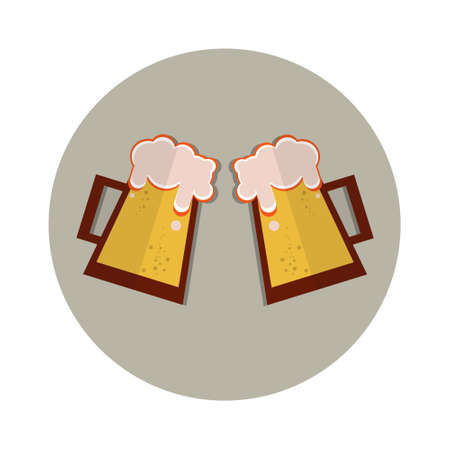 patric icon: Oktoberfest Festival Two Glass Mug Beer Icon Vector Illustration