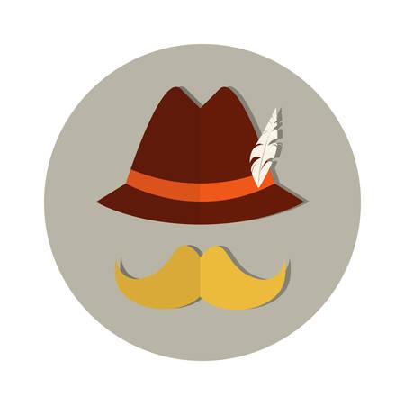 Patric Mustache Hat Beer Oktoberfest Festival Holiday Icon Flat Vector Illustration