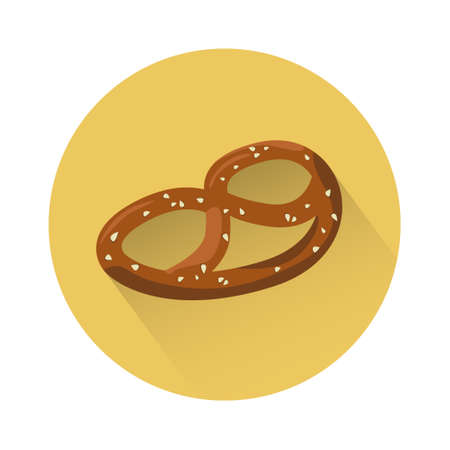 patric: Pretzel Traditional Food Oktoberfest Festival Icon Flat Vector Illustration Illustration