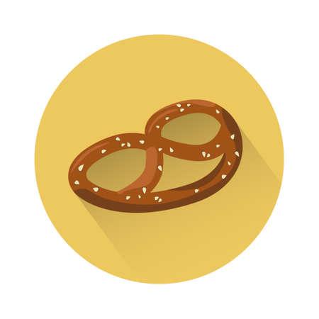 oktoberfest food: Pretzel Traditional Food Oktoberfest Festival Icon Flat Vector Illustration Illustration