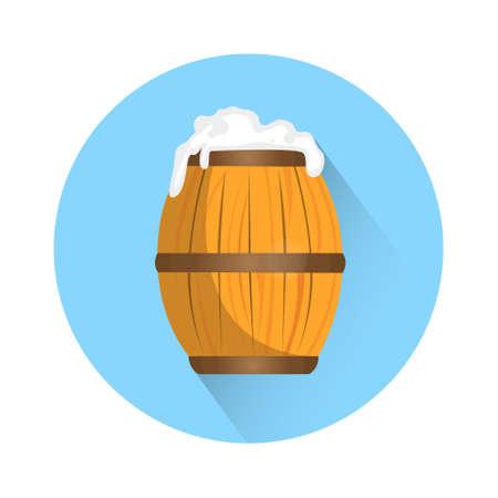 Beer Barrel Oktoberfest Festival Holiday Decoration Banner Flat Vector Illustration