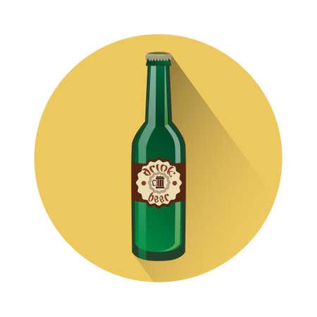 Oktoberfest Festival Glass Bottle Beer Icon Vector Illustration