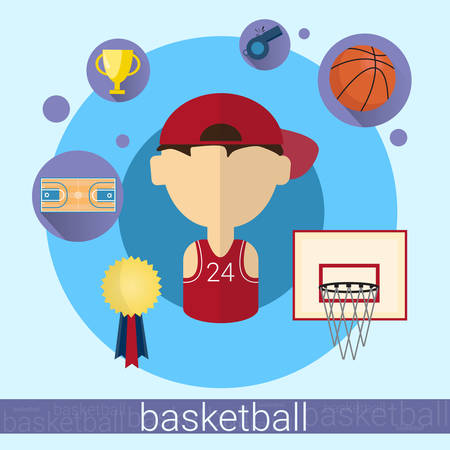 Boy Basketball Player Icon Flat Vector Illustration