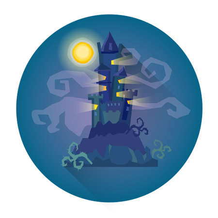 monsters house: Gothic Castle House In Moonlight Halloween Holiday Icon Flat Vector Illustration