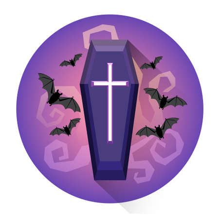 Coffin Cemetery Grave Halloween Holiday Icon Flat Vector Illustration
