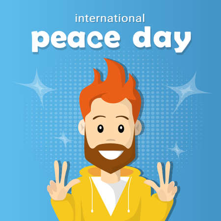 two finger: Man Hipster Hand Point Two Finger Up International Peace Holiday Poster Flat Vector Illustration