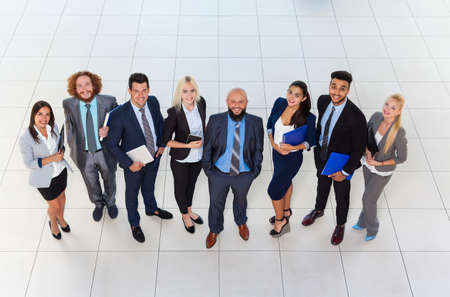 businessman suit: Business People Group Happy Smile Standing At Modern Office Top View, Businesspeople In Row Colleague Team