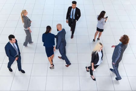 Business People Group Crowd Walking, Busy Businesspeople Colleague Modern Office Top Angle View Reklamní fotografie