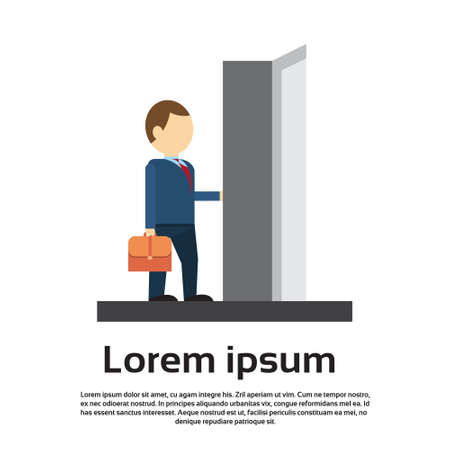 Businessman Enter Open Door Concept Flat Vector Illustration