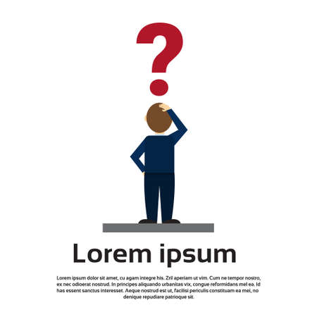 Business Man With Question Mark Pondering Problem Concept Flat Vector Illustration 일러스트