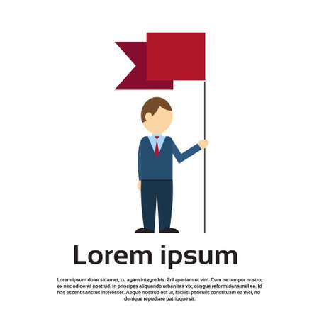 manifest: Business Man Hold Flag Banner Flat Vector Illustration