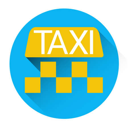 application button: Taxi Service Icon Book Car Application Button Flat Vector Illustration