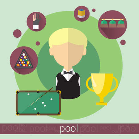 game of pool: Pool Game Player Boy Billiards Icon Flat Vector Illustration