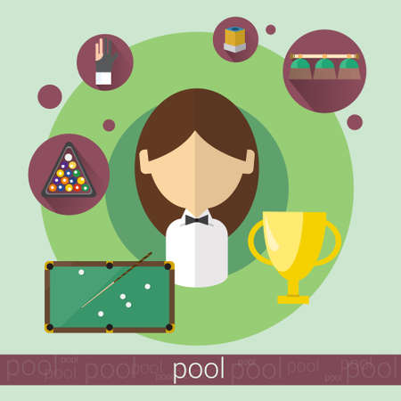 game of pool: Pool Game Player Young Girl Billiards Icon Flat Vector Illustration