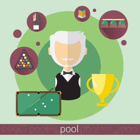 pool game: Pool Game Player Senior Man Billiards Icon Flat Vector Illustration Illustration