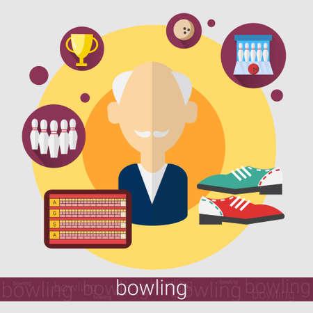 hair pins: Bowling Game Player Senior Man Icon Flat Vector Illustration