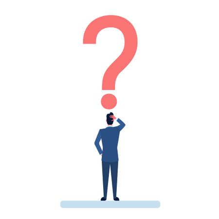 Business Man With Question Mark Pondering Problem Concept Flat Vector Illustration Illustration