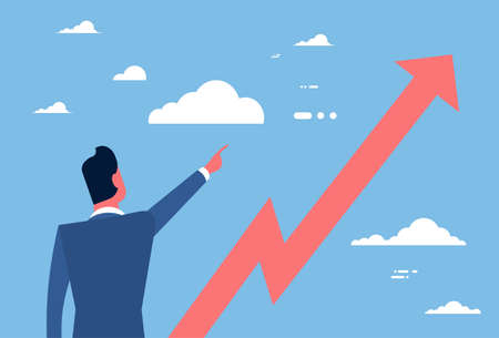 financial success: Business Man Point Finger To Red Arrow Up Financial Success Concept Flat Vector Illustration