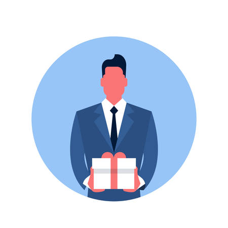 hold: Business Man Hold Present Box Icon Flat Vector Illustration