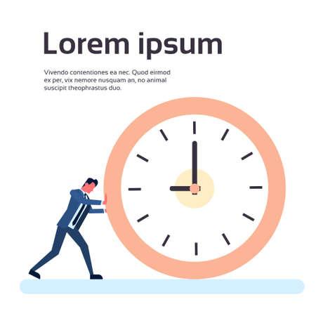 Business Man Push Klok Zakenman Deadline Tijd Concept Flat Vector Illustration