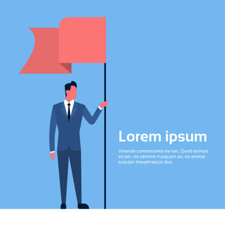 Business Man Hold Flag Banner Flat Vector Illustration
