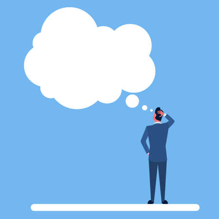 ponder: Business Man Standing Back Ponder Thinking Hold Hand On Head Chat Bubble Flat Vector Illustration