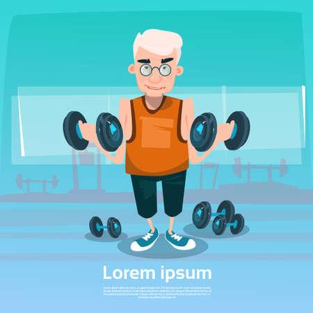senior exercise: Senior Man In Gym Lifting Weight Exercise Workout Flat Vector Illustration