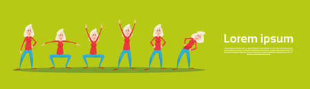 Senior Woman Sport Fitness Exercise Set Workout Flat Vector Illustration