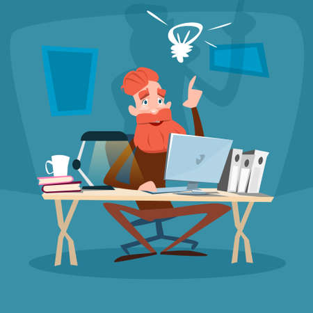 Senior Bearded Man Using Computer, Elder Businessman With New Idea Flat Vector Illustration 矢量图像