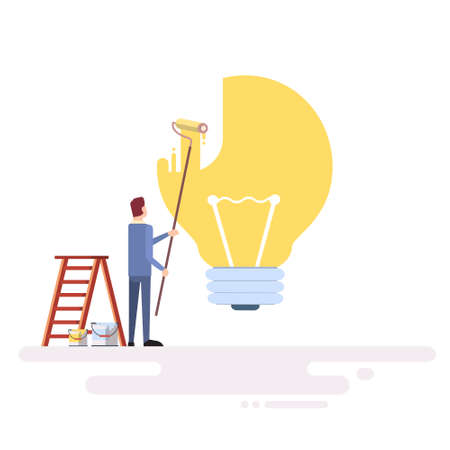 ner: Business Man Draw Light Buld Ner Idea Concept Flat Vector Illustration Illustration
