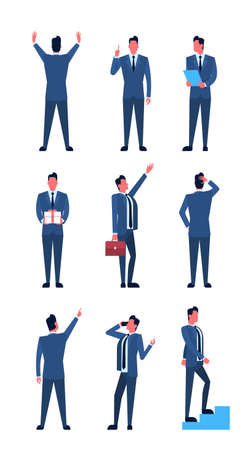 illustration collection: Business Man Set Full Length Positions Businessman Collection Icon Flat Vector Illustration Illustration