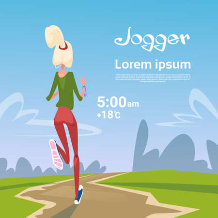 rear view girl: Sport Woman Run With Fitness Tracker On Wrist Girl Runner Jogging In Park Outdoors Training Flat Vector Illustration Illustration