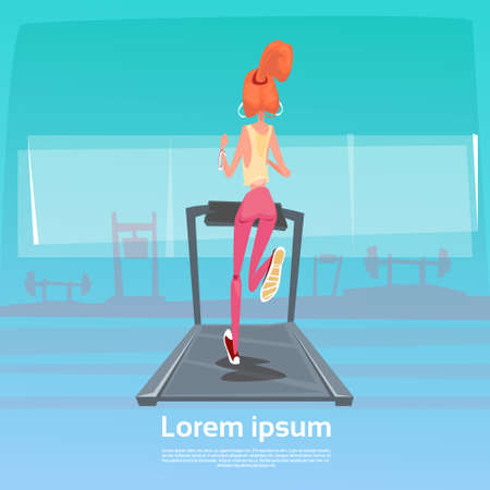 running track: Sport Woman Jogging With Fitness Tracker On Wrist On Running Track Treadmill Exercise Workout Gym Flat Vector Illustration