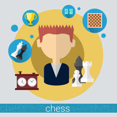 Chess Game Player Young Man Icon Flat Vector Illustration