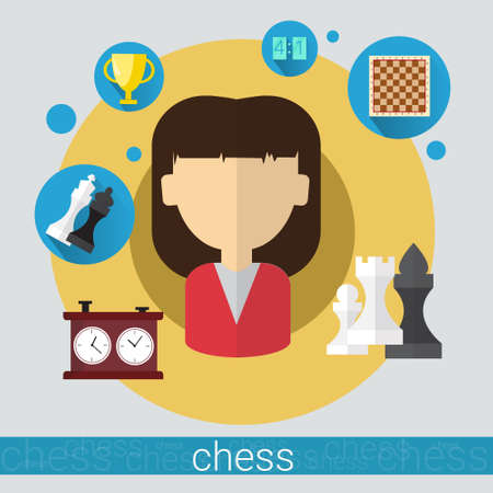 Chess Game Player Senior Man Icon Flat Vector Illustration