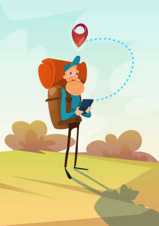 wanderer: Traveler Man Hiking Using Tablet Navigation Outdoor Trekking Tourism Flat Vector Illustration