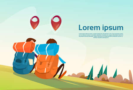 geolocation: Travelers Two Man Sit On Ground With Navigation Pins Outdoor Trekking Tourism Flat Vector Illustration
