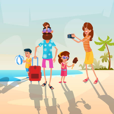 family holiday: Big Family Parents With Two Children On Seaside Vacation Summer Holiday Flat Vector Illustration