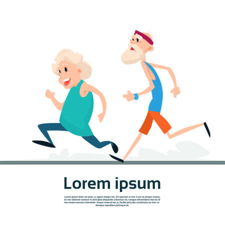 senior exercise: Senior Couple Running Old Man Woman Joggers Sport Fitness Exercise Workout Flat Vector Illustration