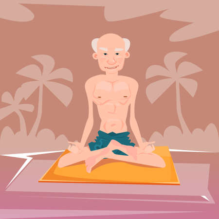 lotus position: Senior Man Sitting In Yoga Lotus Position Relaxing Doing Exercises Flat Vector Illustration