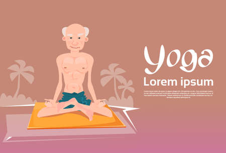 Senior Man Sitting In Yoga Lotus Position Relaxing Doing Exercises Flat Vector Illustration